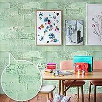 Yenhome 壁紙シール レンガ グリーン 60 cm x 3 m リメイクシート ヴィンテージ 壁紙シール アンティーク リメイク シール シート 貼ってはがせるシール ウォールデコシート ホームセンター 壁紙 レンガ シール
