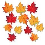 Beistle 12パック デラックス生地 秋の葉 装飾カットアウト 3-1/2 x 4-3/4インチ