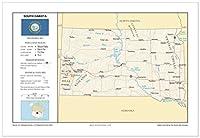 13x 19South Dakota一般的な参照壁マップ–アンカーマップUSA Foundationalシリーズ–都市、道路、物理、機能、地形[ Rolled ]