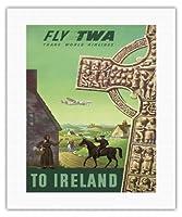 アイルランドへ - TWA (トランス・ワールド航空)で飛ぶ - ケルト十字 - ビンテージな航空会社のポスター によって作成された S・グレコ c.1950s - キャンバスアート - 41cm x 51cm キャンバスアート(ロール)