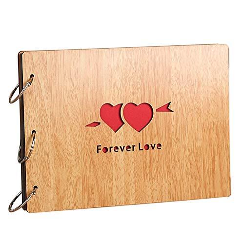 フォトアルバム 木製 手作り アルバム 思い出の集合写真アルバム DIY 30ページ リング3本付き 27*20cm (Forever Love・ハート型)