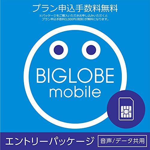 プラン申込手数料(3,000円)が不要エンタメフリー最大6カ月無料 BIGLOBEモバイル エントリーパッケージ ドコモ回線SIMカード 音声通話/データ通信