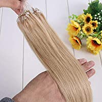 FidgetGear 7A 16-26インチ二重描画ループマイクロリングビーズ100%Remy人毛エクステンション #24金髪