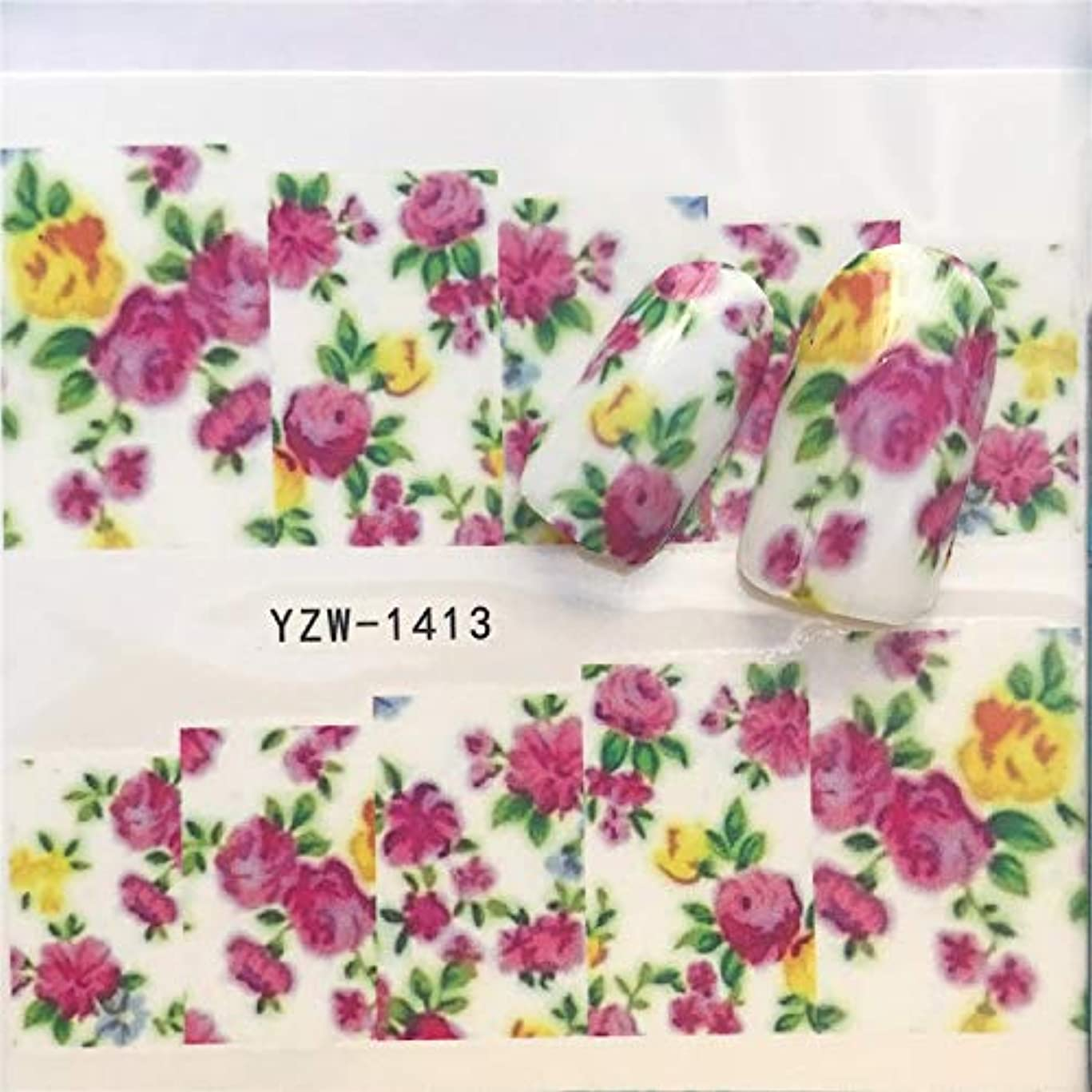 プーノ蒸息を切らしてFlysea ネイルステッカー3 PCSネイルステッカーセットデカール水スライダーネイルズアート装飾、色転送:YZW1413を