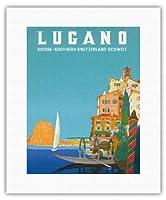 ルガーノ - 南スイス - ルガーノ湖 - ビンテージな世界旅行のポスター によって作成された レオポルド・メトリコヴィッツ c.1958 - キャンバスアート - 28cm x 36cm キャンバスアート(ロール)