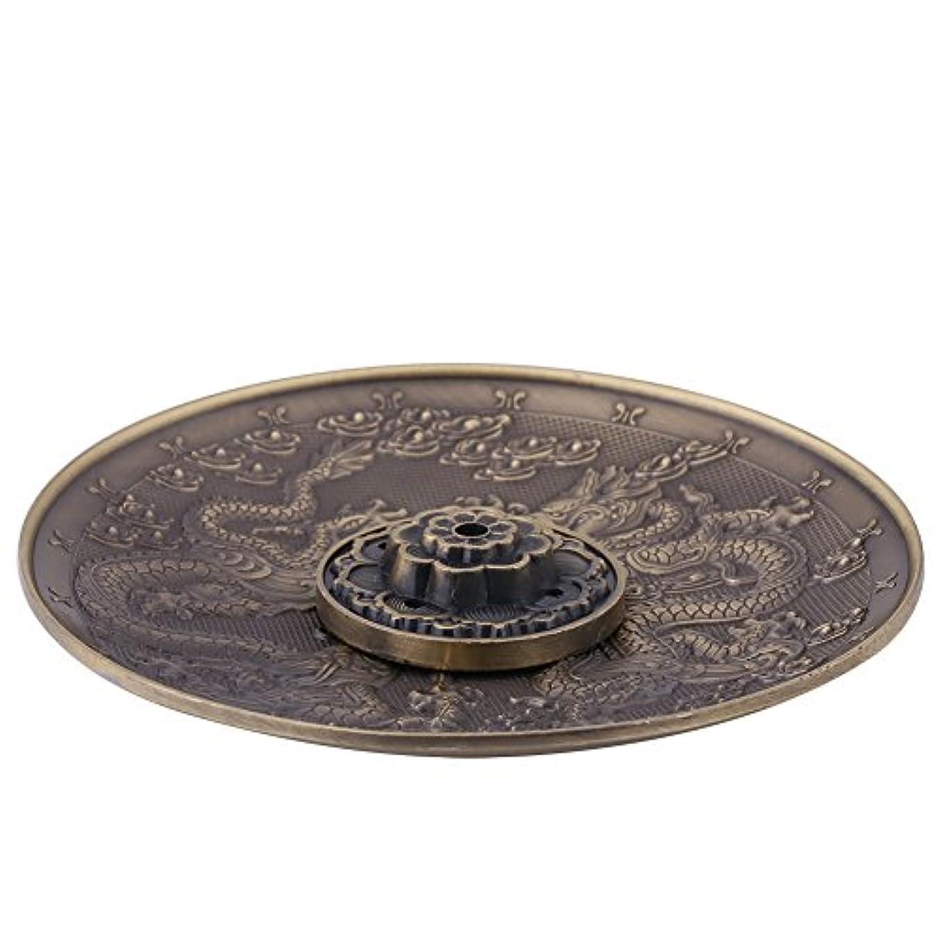 頑固な雑種減衰香皿 亜鉛の香り バーナーホルダー寝室の神殿のオフィスのためのドラゴンパターンの香炉プレート(ブロンズ)