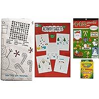クリスマスカラーリングandアクティビティキットwithペーパーテーブルカバー、カラーリングシート、ステッカー、子供とクレヨン – 4個セットfor、家族、教室