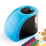 Hometek 電動シャープナー 2穴 6-8mm&9-12mmの普通鉛筆及び色鉛筆対応 ポータブル (ブルー)