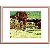 ギュスターヴ・クールベ「 Winterlandschaft. Um 1865/1870. 」 インテリア アート 絵画 プリント 額装作品 フレーム:木製(白木) サイズ:XL (563mm X 745mm)
