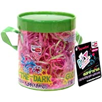 Expressions D.I.Y. 1200 Pink & Green GLOW-in-the-DARK Latex-free Rubber Band Bracelet Refill Loom Pack [Floral] [並行輸入品]