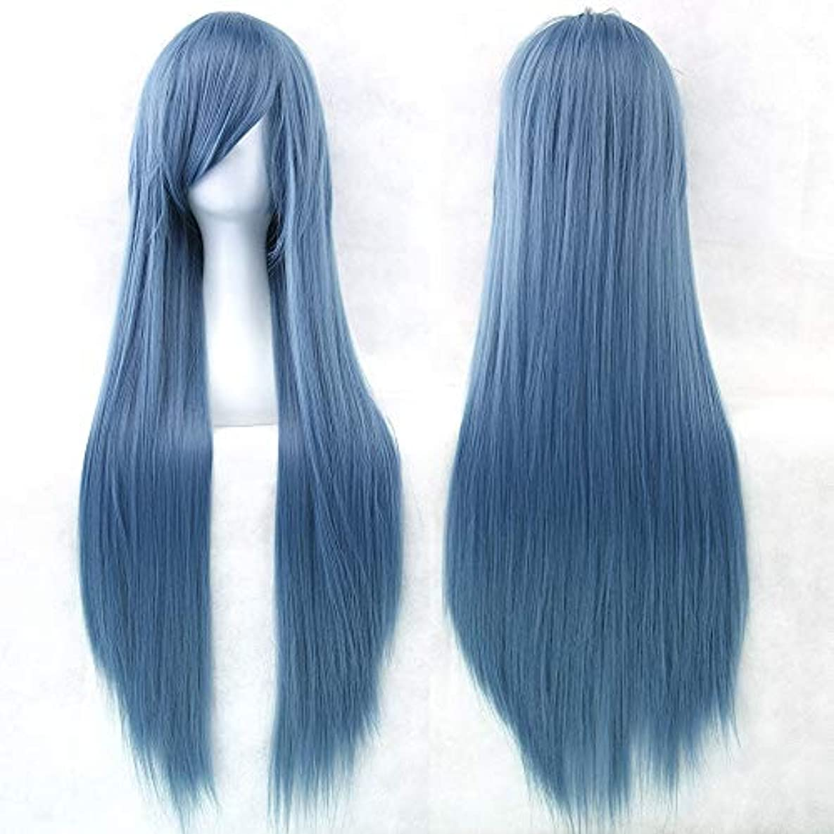 アクセサリー検体すぐに女性用ロングナチュラルストレートウィッグ31インチ人工毛替えウィッグサイド別れハロウィンコスプレ衣装アニメパーティーロリータウィッグ (Color : Indigo blue)