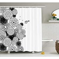 WZYMNYL 家の装飾シャワーカーテンセットタンポポパターン大ざっぱな線と鳥のライオンの歯プリント生地浴室の装飾フック付き