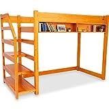 ロフトベッド コンセント 本棚 ディスプレイラック 階段付 天然木パイン材 シングル ライトブラウン