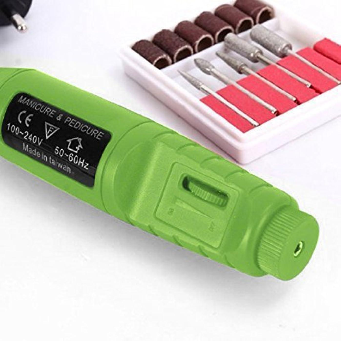研磨ヘッド付き電動研磨ネイルツール(グリーンUSプラグ)