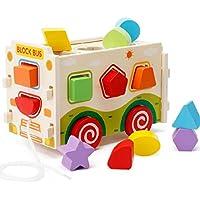 HuaQingPiJu-JP 子供のための車の教育形状の色認識のおもちゃを並べ替える色の木製の形状のソーター幾何学的なソーター