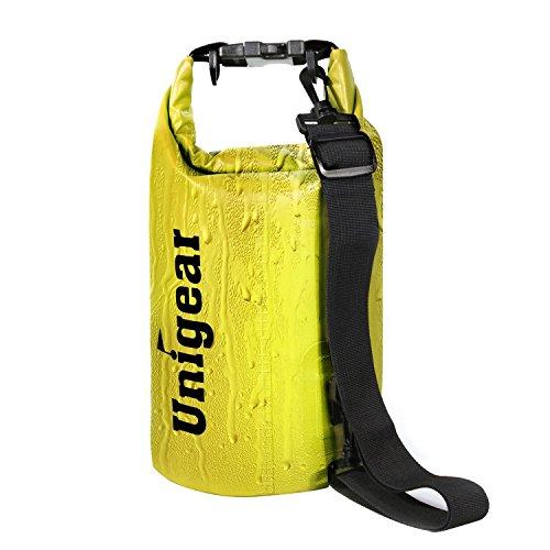 Unigear(ユニジア) ドライバッグ フリー防水ポーチ付 ドラム型 (黄色, 40L)