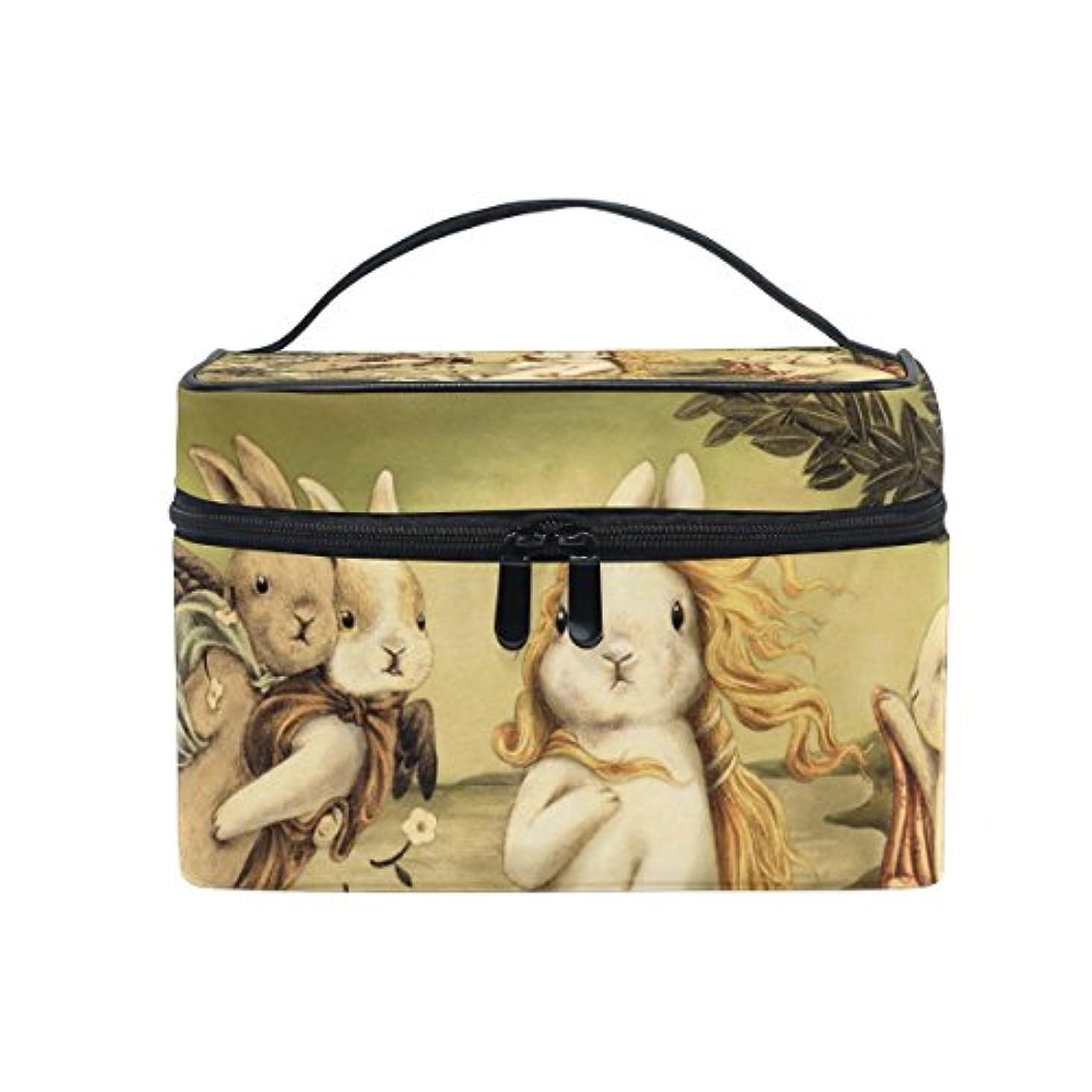 僕のハング嫌がらせバララ (La Rose) 化粧ポーチ コスメポーチ 大容量 おしゃれ 機能的 かわいい ウサギの版 ヴィーナスの誕生 兎柄 メイクポーチ 化粧箱 軽量 小物入れ 収納バッグ 女性 雑貨 プレゼント