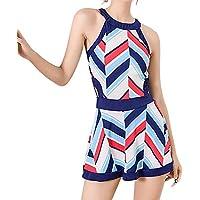 RONSHIN Bikini for Women Retro Printing Slim Beach Dress+Briefs Set