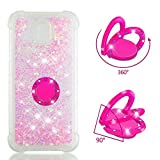 MOBONCAS Cover for Samsung Galaxy J530/J5 Pro Bling Glitter Sparkle Designer Slim Fit Soft Gel TPU Silicone Skin Cover Anti-Scratch Protective Shining Fashion Style Case-Fluorescent Pink.