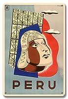 22cm x 30cmヴィンテージハワイアンティンサイン - ペルー - インカネイティブの頭 - ビンテージな世界旅行のポスター によって作成された スプリンゲット c. 1950
