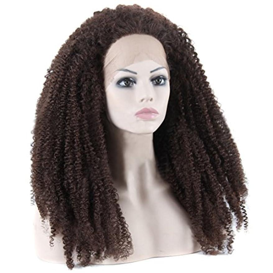 扱いやすい文明悪党JIANFU 320g女性のためのロングウィッグレースのフロントヘアアフリカスモールロールウィッグナチュラルブラックとブラウンカーリーウィッグフルハウス織りの髪 (Color : Black and brown)