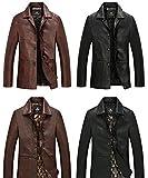 BUZZ(バズ) メンズ PUレザー ジャケット テーラード Leather Jacket コート 革ジャン レザーコート ハーフ丈 ブレザー ビジネスコートCO001 (ブラウン 綿あり,XL)