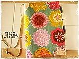 ほぼ日手帳対応カバーカズンサイズ A5手帳カバー 北欧風 ブルーのお花xピンク
