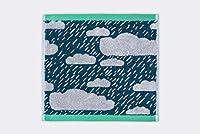 Donna Wilson / ドナ・ウィルソン フェイスタオル 雨空 グリーン 「雨雲」模様のコットン100%のフェイスタオル