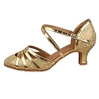 HROYL レディース ラテン ダンス シューズ 女性 社交 ダンス 靴 ローヒール 社交 ステージ ダンスシューズ バトゥーダンスシューズ 512 ゴールド 22.5cm