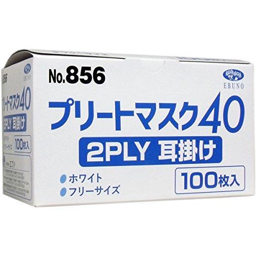 エブノ 業務用プリートマスク40 2PLY 耳掛け 100枚入