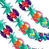 3ピース 9フィート マルチカラー トロピカルフラワーガーランド ハワイパーティーガーランド ペーパーフラワーバナー ハワイアンルアウの装飾用