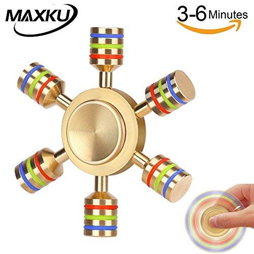MaxKu ハンドスピナー Hand spinner Fidget Spinner Toy 高速回転 新型DIY 指スピナー 純銅製 6枚翼リムーバブル おもちゃ ストレス解消 3-6分回転可 フォーカス玩具 大人も子供も適合 カラフル