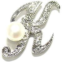 淡水真珠白5.5mmボタン型イニシャルピンブローチK