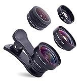 J-boxing 4K HD広角レンズ + 200° 魚眼レンズ + 15X マクロレンズ カメラレンズキットクリップ 3点セット 自撮りレンズ