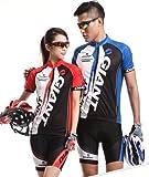 GIANT COOL MAX サイクルウェア ジャージ 自転車ウェア サイクリングウェア ブルー 上下セット 半袖 PL保険加入商品 (七海ショップ) (赤色, M)