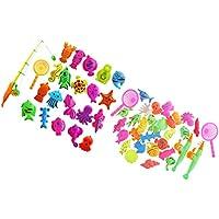 Perfeclan 磁気釣り玩具 54個パック 海洋動物 キッズフィッシング玩具 魚釣りおもちゃセット