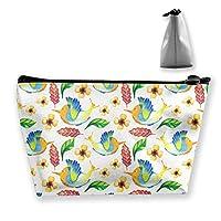 水彩熱帯鳥の葉のパターン 収納ポーチ 化粧ポーチ トラベルポーチ 小物入れ 小財布 防水 大容量 旅行 おしゃれ