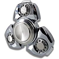 MATEMINCO ハンドスピナー ダイヤカット3枚羽 Hand Spinner 窒化ケイ素 セラミックベアリング 精密加工 電気メッキ 5-8分回転 高級品 (シルバー)