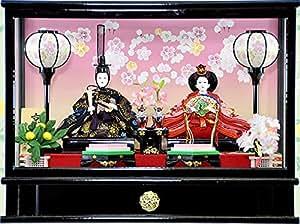 秀光人形工房 限定商品 雛人形 ひな人形 お雛様 おひなさま 衣裳着 親王 ケース飾り たんぽぽ セット コンパクトケース入り 雪洞に明かりが灯りお人形を引き立てます オルゴール付き 間口48cm 【P86302B】
