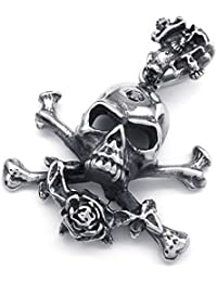 cljstoreジュエリービンテージステンレス鋼ゴシック頭蓋骨スケルトンペンダントメンズネックレス、18 – 26インチチェーン