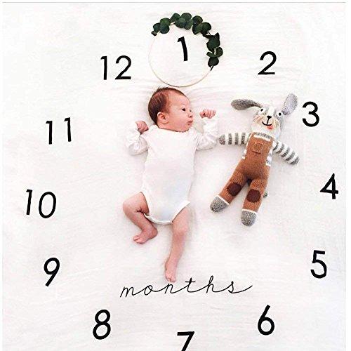 Yiteng 新生児 ベビーシャワー 記念写真 月齢 出産祝い 寝相アート 柔らかい 綿 道具 背景 ブランケット お祝いギフト 敷物 ソフト