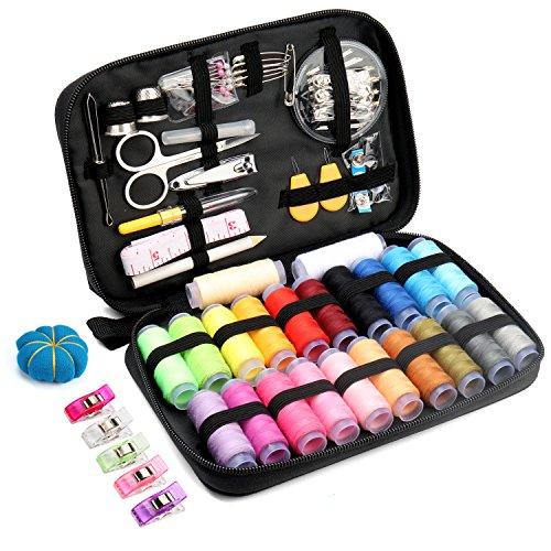 Qisiewell 裁縫セット ソーイングセット 22種カラー鮮やかな縫い糸 108個高質量ポータブルミシンアクセサリー プロ裁縫道具 家庭用 大人用