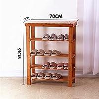4ティアナチュラル竹木製シンプルなバースツール表面靴棚棚ホルダー収納オーガナイザー廊下のバスルームのリビングルーム(マルチサイズ)のための多機能シェルフ