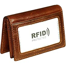 BlueCosto Leather RFID Blocking Credit Card Holder Wallet Women Sleeve Men ID Case