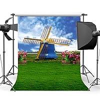 gladbuy 5x 7ftビニール写真バックドロップウェディングオランダ風車花緑つる草フィールドブルースカイホワイトクラウドNature BackdropsベビーガールズLover肖像画背景写真スタジオ小道具xm497