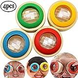 SWZY木製 万華鏡 子供 幼児 知育おもちゃ まんげ鏡 木製の万華鏡の筒 ミニサイズ 木のおもちゃ 安全 不思議 かわいい 観察 4 個入り