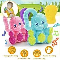 ベビーおもちゃ、安全赤ちゃん幼児用Teether Hand ShakeベルリングFunny教育Elephant Toy by dacawin Da-001530