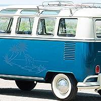 ステッカー/バンパーステッカー - バンパーステッカー「ビーチガール」 86cm x 60cm 水色 - 車のリアウィンドウ調整 - カースタイリング
