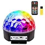 iHOVEN ステージライト 舞台照明 Bluetooth ワイヤレス スピーカー内蔵 マジックボール クリスタル RGB多色変化 エフェクトライト 回転ライト 水晶魔球 ミラーボール パーティー DJ ディスコライト クラブ バー disco 雰囲気を盛り上げる 多機能 LEDライト 投影ライト 音楽再生 リモコンコントロール (L)