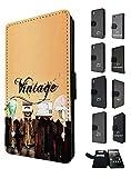 1556 - Cool Trendy Fun cute tv head radio head music vintage retro clothing fashion Design Sony Xperia Z5 Compact / Miniレザー手帳型ケース ダイアリー カード 収納 ポケット スロット スタンド 財布型